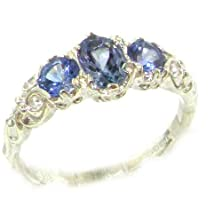 buy Ladies Solid White 10K Gold Natural Tanzanite English Victorian Trilogy Ring - Size 6.5 - Finger Sizes 5 To 12 Available
