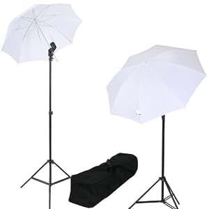 Kit d'éclairage pour studio photo - 2 lampes + 2 parapluies + 2 trépieds + 1 sac de transport