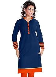 Isha Enterprise Women's Navy Blue Colour Semi Stitched Straight Kurti