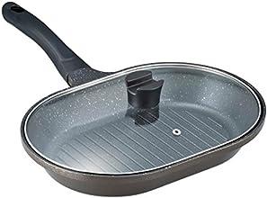 ベストコ IHフィッシュ&グリルパン ガラス蓋付き 菜箸やターナーが置けるツマミ付き ND-4881