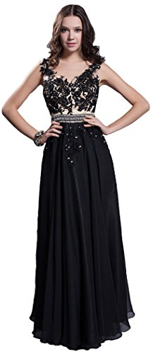 Meier Women's Embroidery Lace Beaded Prom Evening Chiffon Pageant Formal Dress Black-3XL