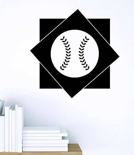 Design with Vinyl Zzz 836 4 Decor Item Baseball Diamond Sports Design Boys Kids Bedroom Wall Sticker Decal, 20-Inch x 20-Inch, Black - 1