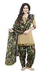 Salwar House Beige & Multicolor Unstitched Synthetic Printed Dress Material with Dupatta