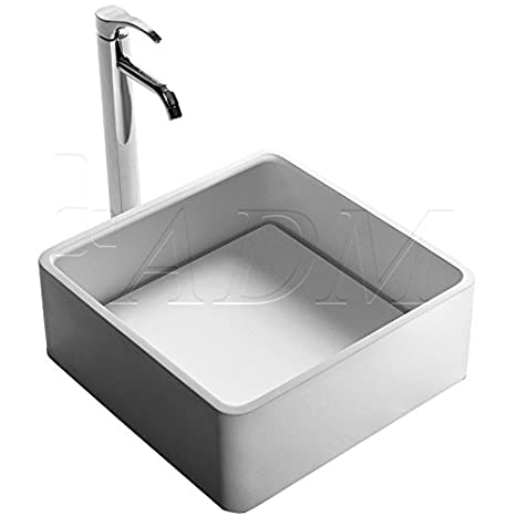 ADM ADM Bathroom Design Matte White Stone Resin Sink DW-180
