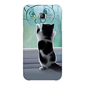 Stylish Cute Kitty Face Print Back Case Cover for Samsung Galaxy J5