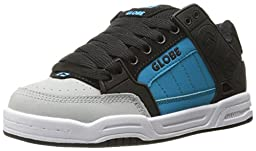 Globe Kids Tilt Skateboarding Shoe (Little Kid/Big Kid), Black/Grey/Blue, 5 M US Big Kid