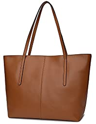 Ilishop High Quality Women\'s New Fashion Handbag Genuine Leather Shoulder Bags Tote Bags Hot Sale (Brown)