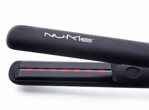NuMe Megastar Flat Iron 100% Tourmaline Ceramic Plates with infrared light (110v to 240v electricity, Black)