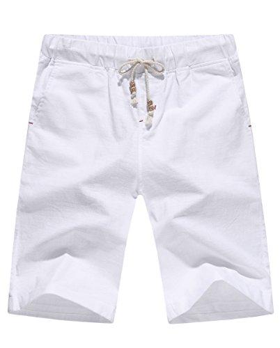 NITAGUT Men's Linen Casual Classic Fit Short White M White Casual Shorts