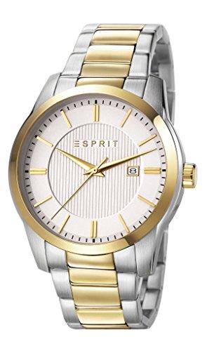 Relé para hombre Esprit Reloj infantil de cuarzo con fácil plateado esfera analógica y dos correa de acero inoxidable de color plateado y dorado ES107591005