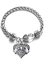 Lil Sis Classic Silver Plated Pave Heart Clear Crystal Charm Bracelet