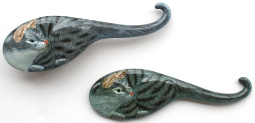 Cat Themed Hair Brush & Mirror Set For Children - Gray Tabby