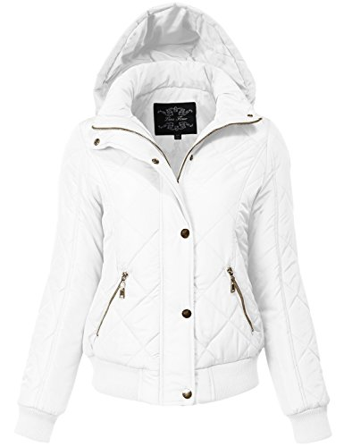 Warm Regular Fit Quilted Padding Bomber Jackets Large ,white