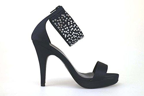 scarpe donna HAUTE COUTURE sandali blu raso strass AM865 (39 EU)