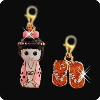 Enameled Pet Charm / Pendant with Handset Swarovski Crystals - Kimono Girl & Geta Slippers Set (Gold)