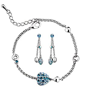 Swarovski Elements Crystal Aqua Blue Bracelet and Earring Set with Three Wear Styles