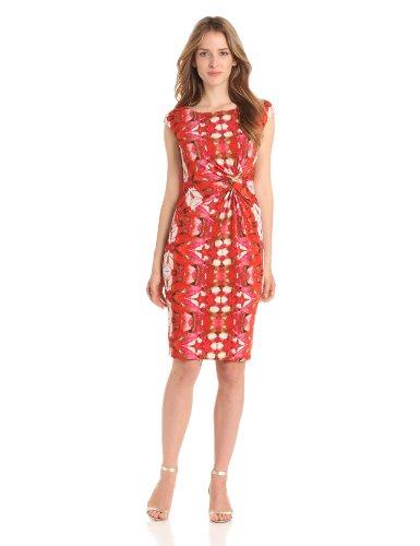 Anne Klein Women's Oasis Ikat Print Dress, Coral Multi, 8