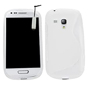 Samrick S Wave Hydro Gel Protective Case with Screen Protector, Microfiber Cloth and High Capacitive Mini Stylus Pen for Samsung Galaxy S3 Mini i8190/i8190N with NFC - White
