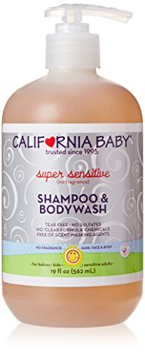 California Baby Super Sensitive Shampoo and Body Wash, Fragrance Free, 19 Ounce