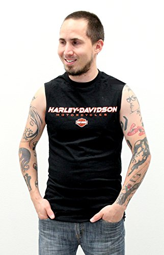 Harley-Davidson Mens Turbulent Black Sleeveless Muscle T-Shirt - LG