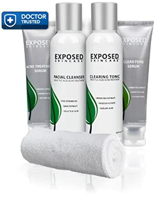 Exposed Acne Treatment: Basic Kit -- The BEST Acne Treatment for Men and Women. Facial Treatment with Benzoyl Peroxide, Salicylic Acid & Natural Ingredients - Works for Normal, Sensitive and Oily Skin. Clearer, Smoother Skin 100% Guaranteed