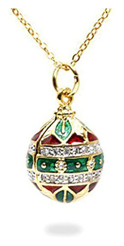 Gold Plated Austrian Crystal Jeweled Ornament Red Green Enamel Russian Faberge Egg Pendant Necklace, 18""