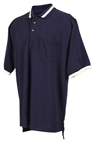 Tri-Mountain 60/40 Pique Pocketed Golf Shirt With Trim. - Navy / Ivory - 2Xlt front-746104