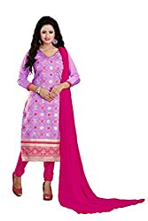 Parinaaz Fashion Levender Chandari Straight unstitched salwar suit