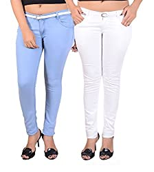 Goodgift Blue & White Cotton Lycra Jeans