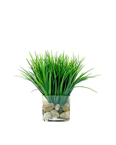 Creative Displays Faux Green Grass in a Clear Glass Vase with River Rocks As You See