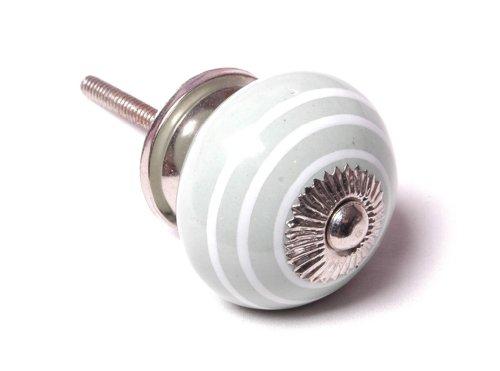 Eau de nil GREEN and white stripe striped ceramic KNOB handle pull for furniture (drawers, cupboard doors etc)