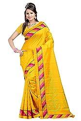 Sheesha Yellow Pure Cotton Bhagalpuri Printed Saree (HD104)