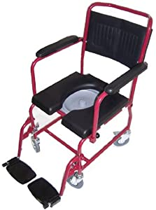 MedMobile 2-in-1 Commode / Shower Wheelchair with Drop-down Armrests, Locking Rear Castors, Detachable Footrests and PU Commode Seat