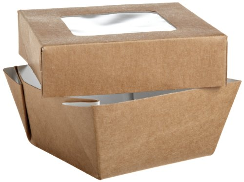 PacknWood 210KRAYB85 Kray Brown Paper Box With Window Lid, Base: 2.7 x 2.7 x 1.8-Inch, Top: 3.3 x 3.3-Inch (10 Packs of 25)