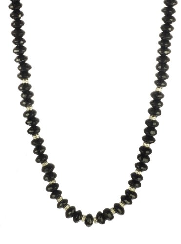 Black Onyx Faceted Rondelle and Rhinestone Spacer Necklace with Sterling Silver Clasp, 18