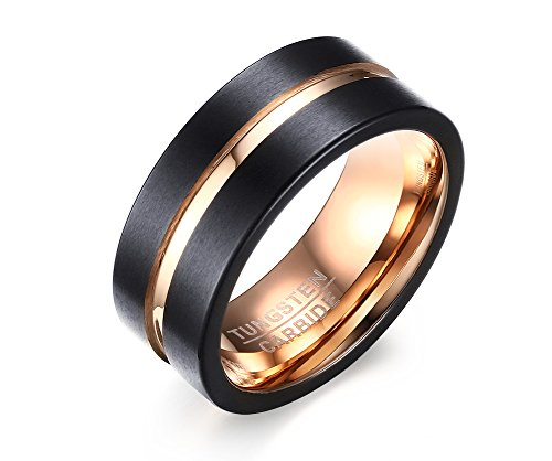 8mm Black Tungsten Carbide Wedding Band Rings For Men Matte Finish Polished Beveled Edge Size 7-12