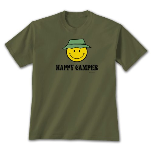 Happy Camper ~ Military Green T-Shirt Large