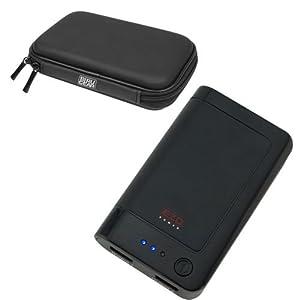 EZOPower Black 2-Port High-capacity Portable External Rechargable Backup Battery Pack -1800mAh (1A) + Battery Case for Apple