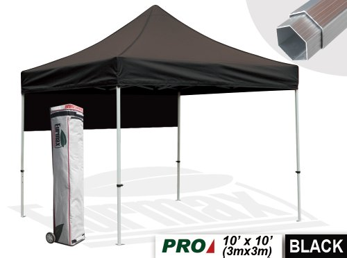Eurmax Professional 10 X 10 Ez Pop Up Canopy Wedding Party Tent Instant Outdoor Gazebo Pavilion Canopy BBQ Cater Events Aluminum Frame Commercial Grade Bonus Roller Bag+ Awning (Black)