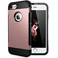 Yesgo Slim Anti-Scratch Shockproof Case for Apple iPhone 7 with Tempered Glass Screen Protector (Rose Gold)
