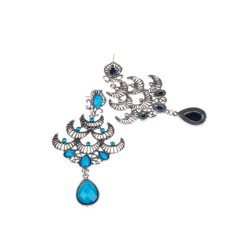 Retro Silver Moon Blue Crystal Chandelier Shape Earrings for Ladies and Girls