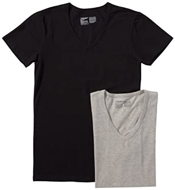 JACK & JONES Herren T-Shirt 2 er Pack 12067270 SIMPLE V TEE 2-PACK, Gr. 48 (S), Mehrfarbig (GREY MELANGE / Detail:Grey Melange/Black)