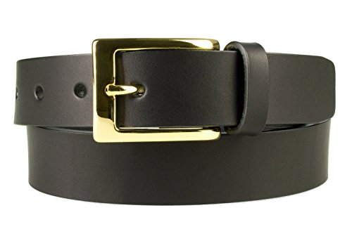 """S, 30-34, Black, Gold Plated Buckle - High Quality Leather Belt - 1 3/16"""" Wide (30mm) - Made in UK (BD-0005-30)"""