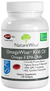 NatureWise OmegaWise Krill Oil with 100% Pure Superba Krill, Full GPS Traceability, 500mg, 120 Softgels