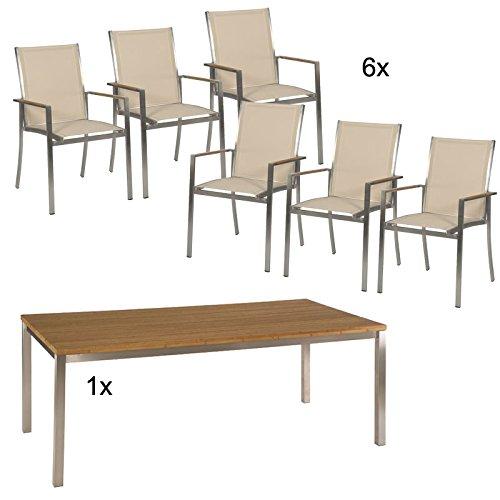 Stern Gartenmöbel Set Fred 8-Teilig aus Edelstahl und Bambusplatte günstig