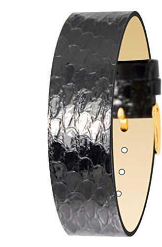 Moog Paris Retro Vamp-Cinturino in pelle di serpente giocattolo, motivo: Pitone, colore: nero e chiusura a fibbia in acciaio dorato, Moog ##TTC SN-01 g-strap