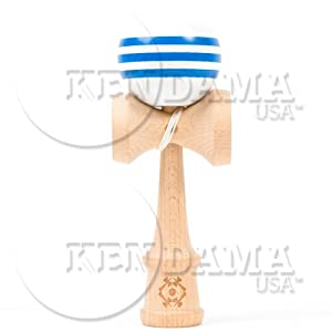 Kendama USA Tribute - Wooden Skill Toy-White with Blue Stripes