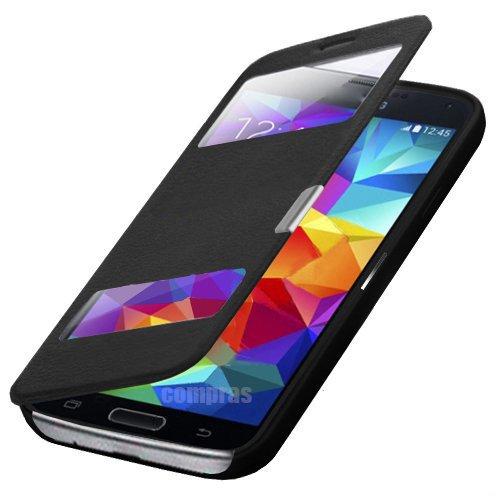 Flip Cover per Samsung Galaxy S5Mini SM-G800/S5mini Duos G800H/DS libro Custodia Cover a custodia Bookcase borsa case nero + con finestra + Fol