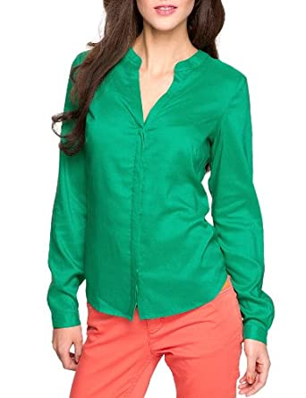 Comma Damen Bluse Regular Fit 81.303.11.8342 BLUSE LANGARM, Gr. 38, Grün (7356 palm)