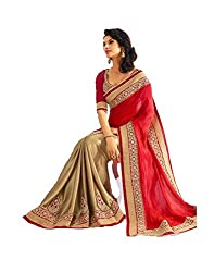 Vihana Georgette Sequin Work Lace Half & Half Saree